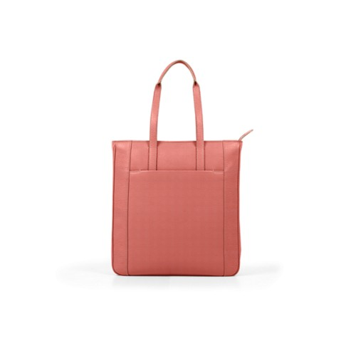 Unisex Tote Bag - Coral - Granulated Leather