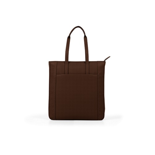 Unisex Tote Bag - Dark Brown - Granulated Leather
