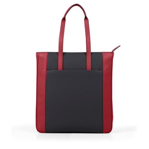 Unisex Tote Bag - Black-Amaranto - Granulated Leather