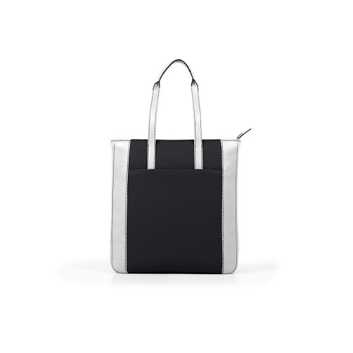 Unisex Tote Bag - Black-White - Granulated Leather