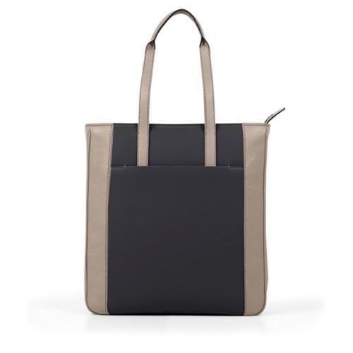 Tote Bag Unisexe - Noir-Vison - Cuir Grainé