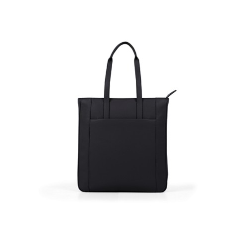 Unisex Tote Bag - Black - Granulated Leather