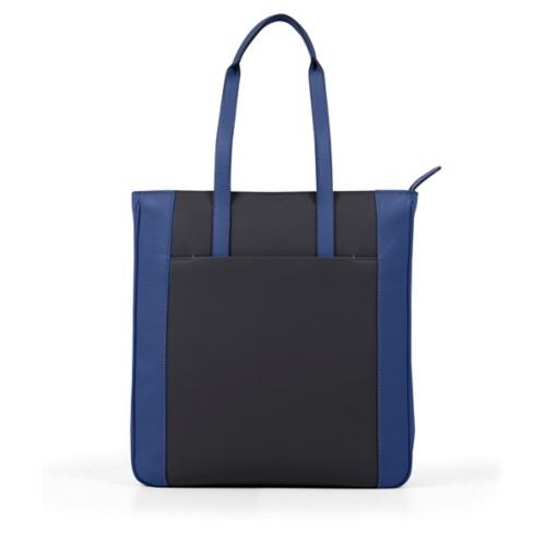 Unisex Tote Bag - Black-Submarine - Granulated Leather
