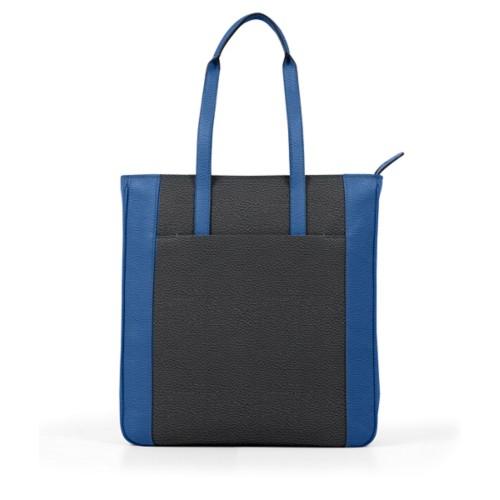 Unisex Tote Bag - Black-Royal Blue - Granulated Leather