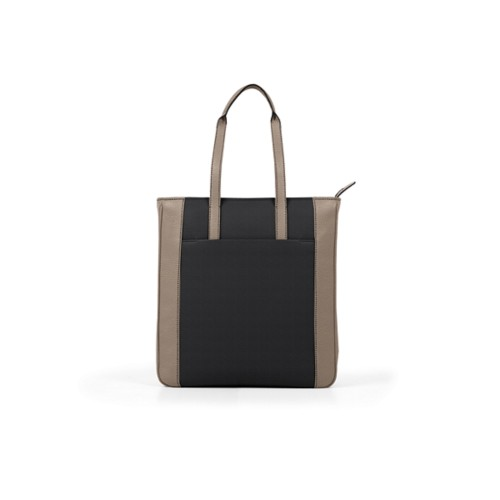 Unisex Tote Bag - Black-Mink - Granulated Leather