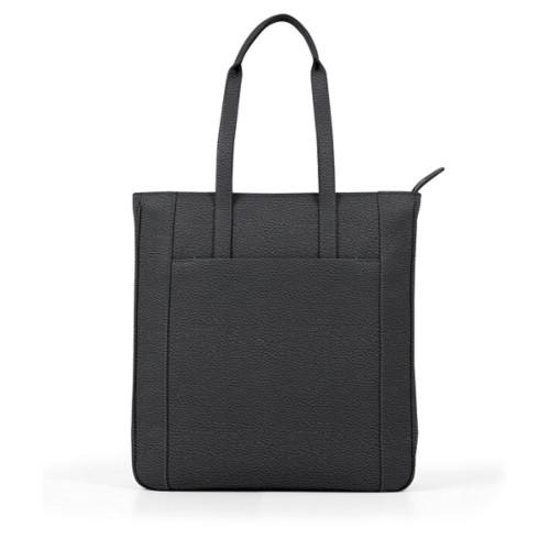 Unisex Tote Bag - Black - Granulated Leather