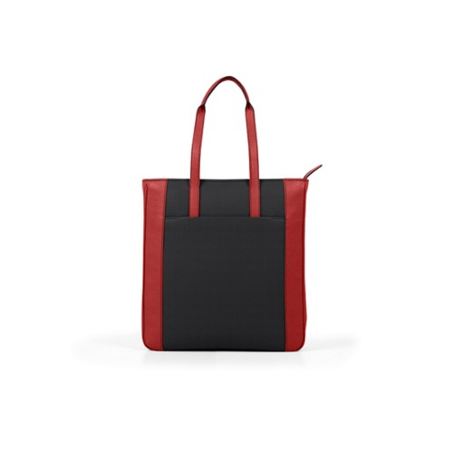 Unisex Tote Bag - Black-Red - Granulated Leather