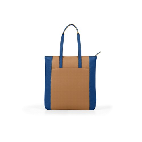 Unisex Tote Bag - Natural-Royal Blue - Granulated Leather