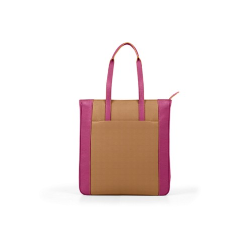 Unisex Tote Bag - Natural-Fuchsia - Granulated Leather