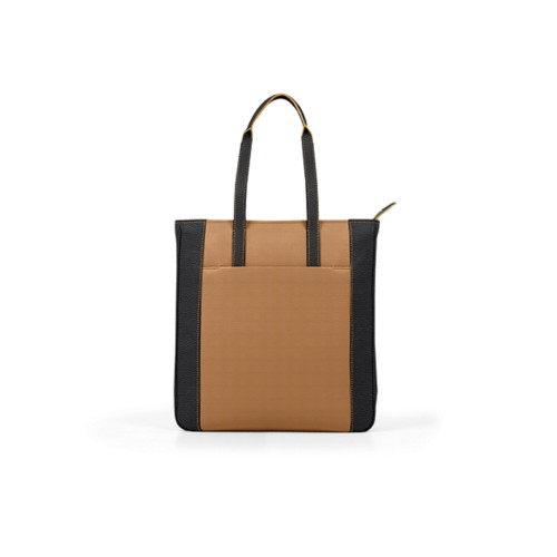 Unisex Tote Bag - Natural-Black - Granulated Leather