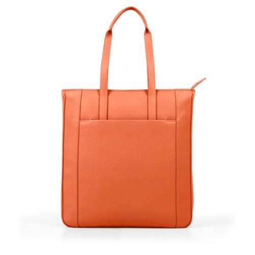 Unisex Tote Bag - Orange - Granulated Leather