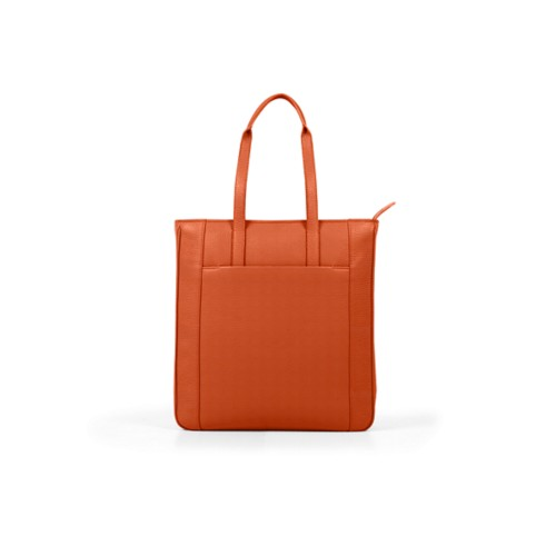 Unisex Tote Bag - Orange - Granulated Leather