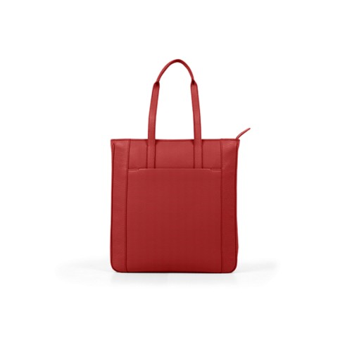Unisex Tote Bag - Red - Granulated Leather