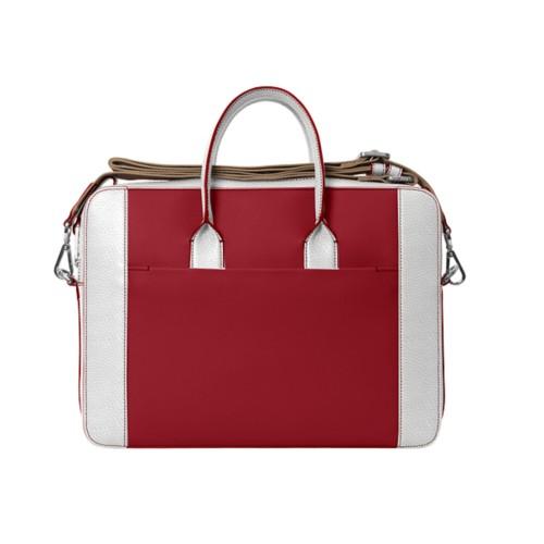 Portfolio bag 15-inch - Amaranto-White - Granulated Leather