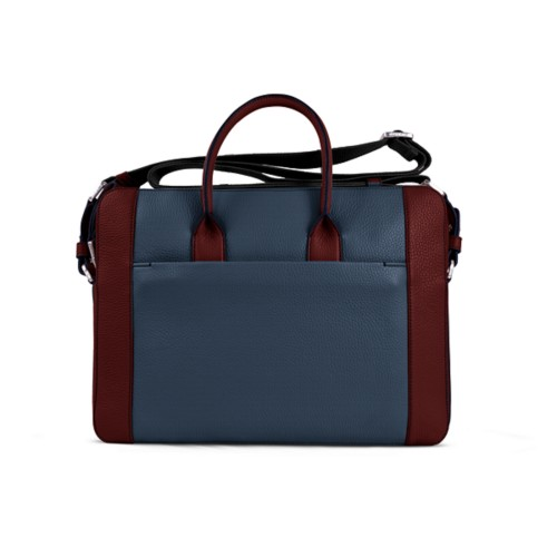 Portfolio bag 15-inch - Navy Blue-White - Granulated Leather