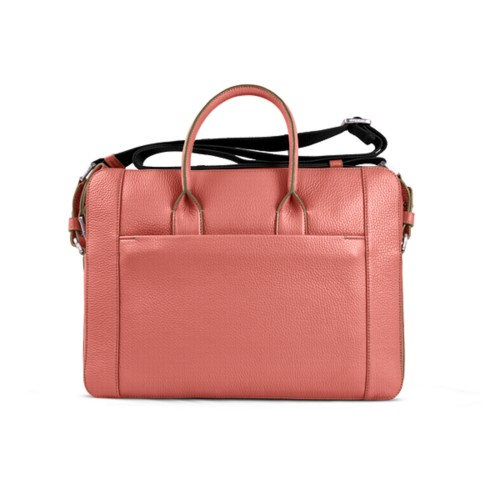 Portfolio bag 15-inch - Coral - Granulated Leather