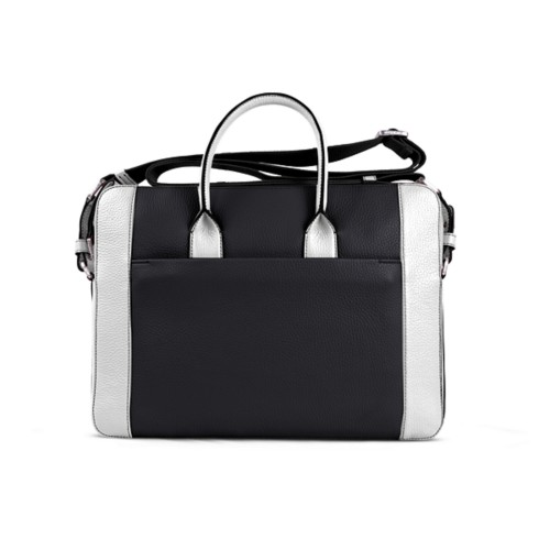Portfolio bag 15-inch - Black-White - Granulated Leather