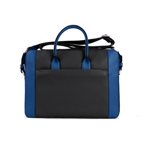 Portfolio bag 15-inch - Black-Royal Blue - Granulated Leather