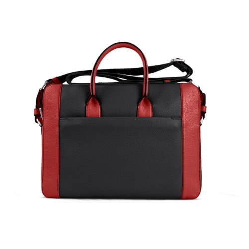 Portfolio bag 15-inch - Black-Red - Granulated Leather