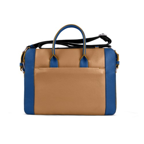 Portfolio bag 15-inch - Natural-Royal Blue - Granulated Leather