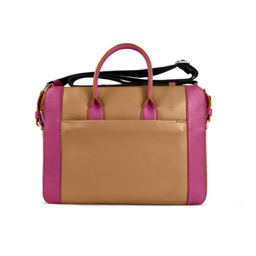 Portfolio bag 15-inch - Natural-Fuchsia - Granulated Leather