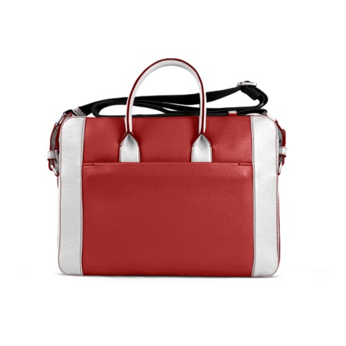 Portfolio bag 15-inch - Red-White - Granulated Leather
