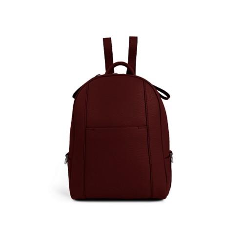 Mini-Rucksack - Weinrot - Genarbtes Leder