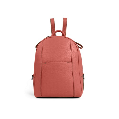 Mini backpack - Coral - Granulated Leather