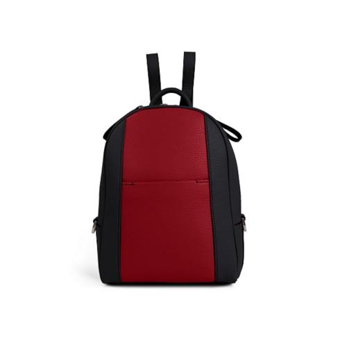 Mini backpack - Black-Amaranto - Granulated Leather