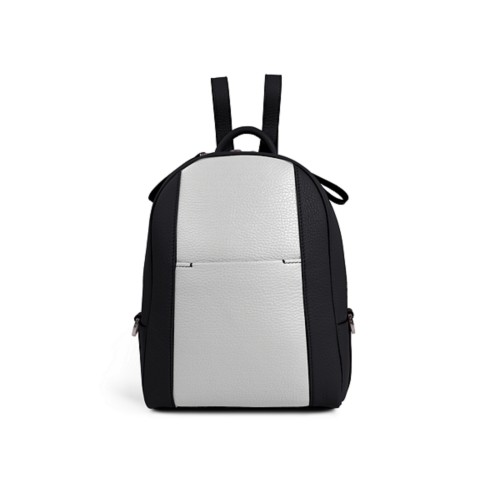 Mini backpack - Black-White - Granulated Leather
