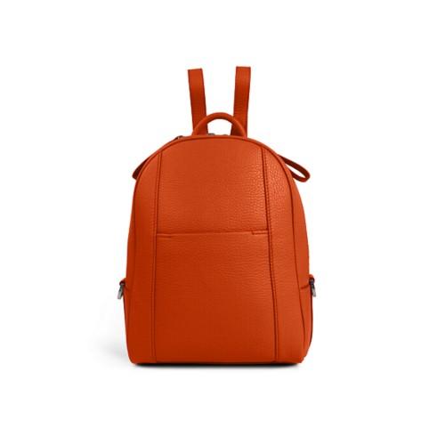 Mini backpack - Orange - Granulated Leather
