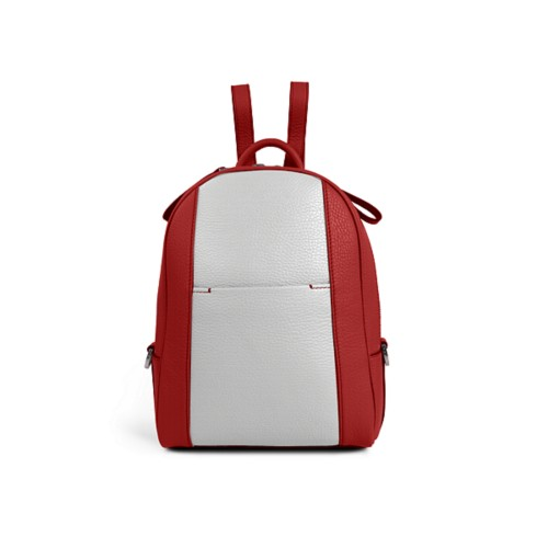 Mini backpack - Red-White - Granulated Leather