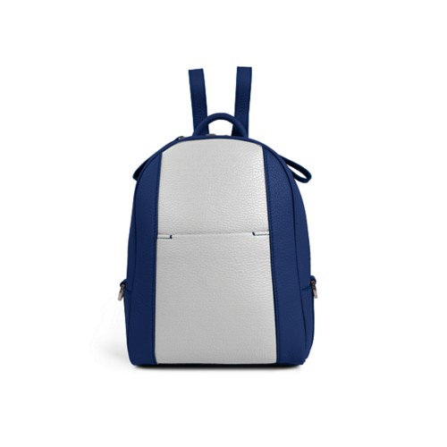 Mini backpack - Submarine-White - Granulated Leather