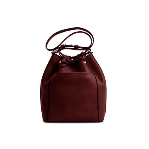 Bucket bag - Burgundy - Granulated Leather