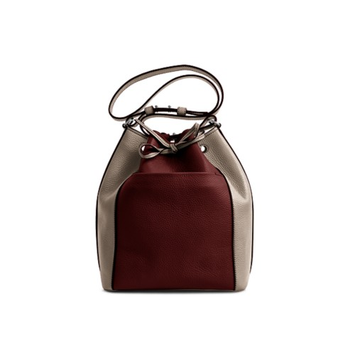 Bucket bag - White-Mink - Granulated Leather