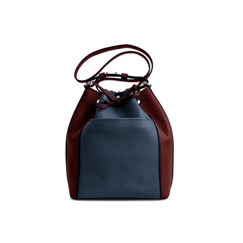 Bucket bag - Navy Blue-White - Granulated Leather