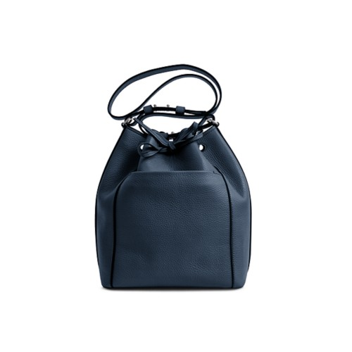 Bucket bag - Navy Blue - Granulated Leather