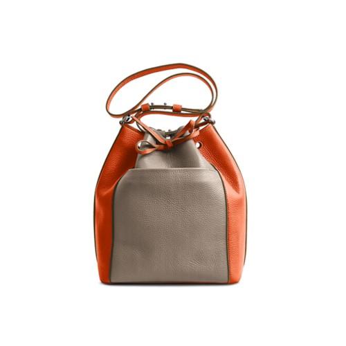 Bucket bag - Mink-Orange - Granulated Leather