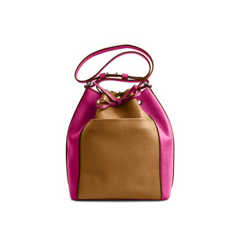 Bucket bag - Flake-Fuchsia - Granulated Leather