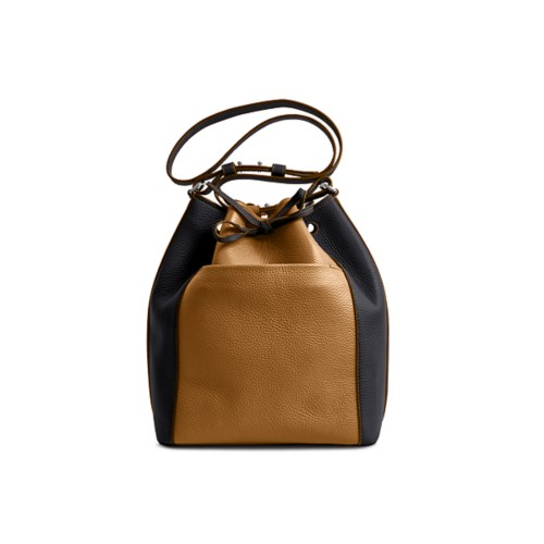 Bucket bag - Flake-Black - Granulated Leather