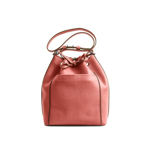 Bucket bag - Coral - Granulated Leather