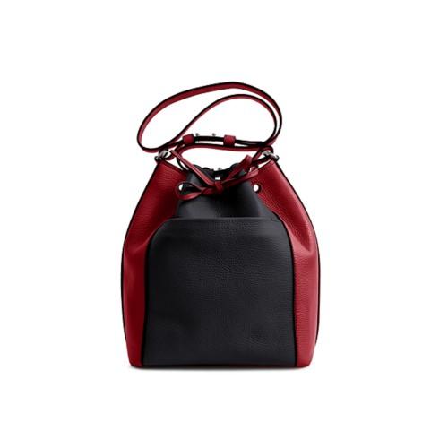 Bucket bag - Black-Amaranto - Granulated Leather