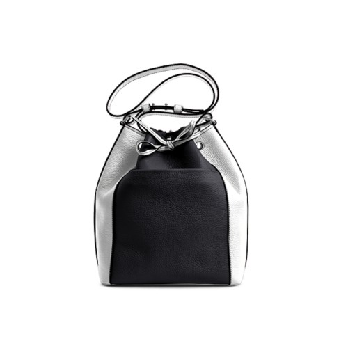 Bucket bag - Black-White - Granulated Leather