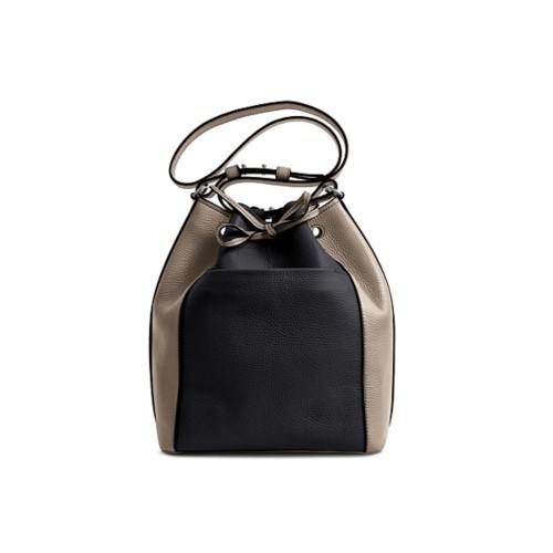 Bucket bag - Black-Mink - Granulated Leather