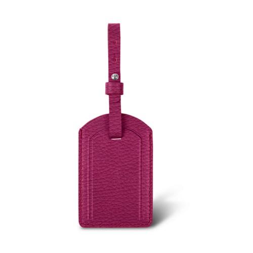 Luxury Luggage Tag - Fuchsia  - Granulated Leather