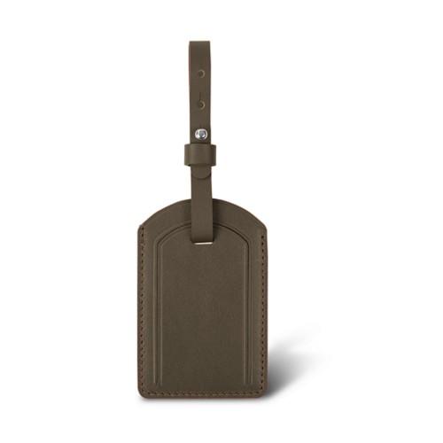 Étiquette de Bagage Luxe - Taupe Foncé - Cuir Lisse