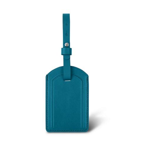 Étiquette de Bagage Luxe - Turquoise - Cuir Lisse