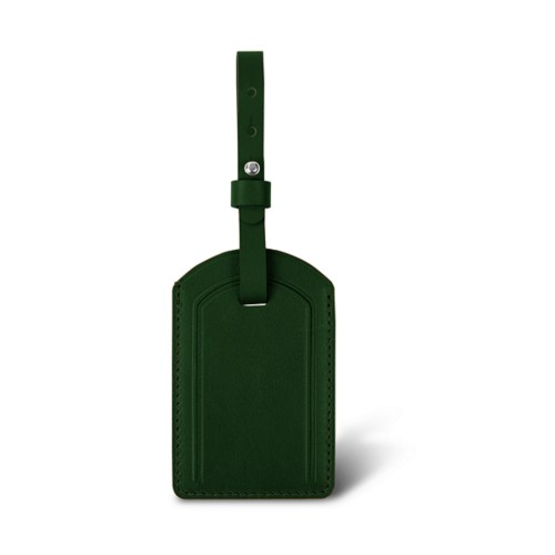 Luxury Luggage Tag - Dark Green - Smooth Leather