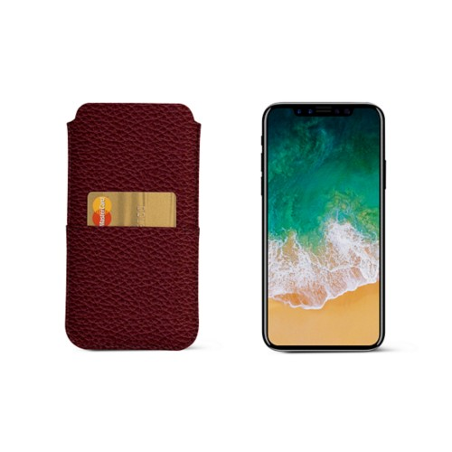 iPhone X pouch with pocket - Burgundy - Granulated Leather