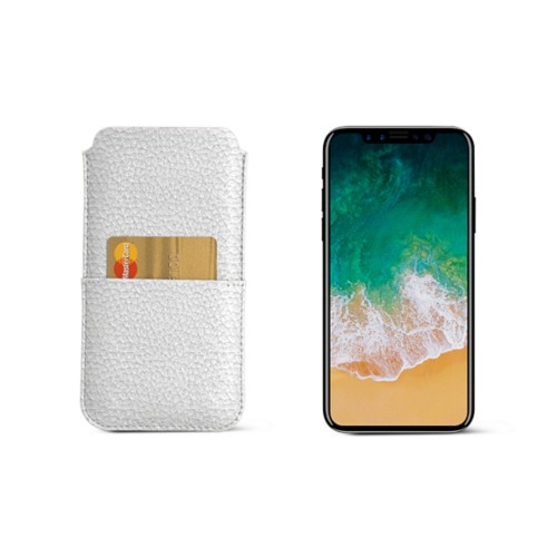 iPhone X pouch with pocket - White - Granulated Leather